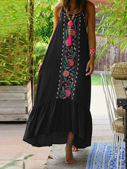 Sleeveless Asymmetric Ankle-Length Floral Casual Dress