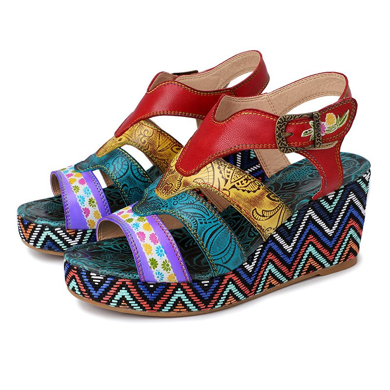 Open Toe Wedge Heel Buckle Casual Color Block Sandals