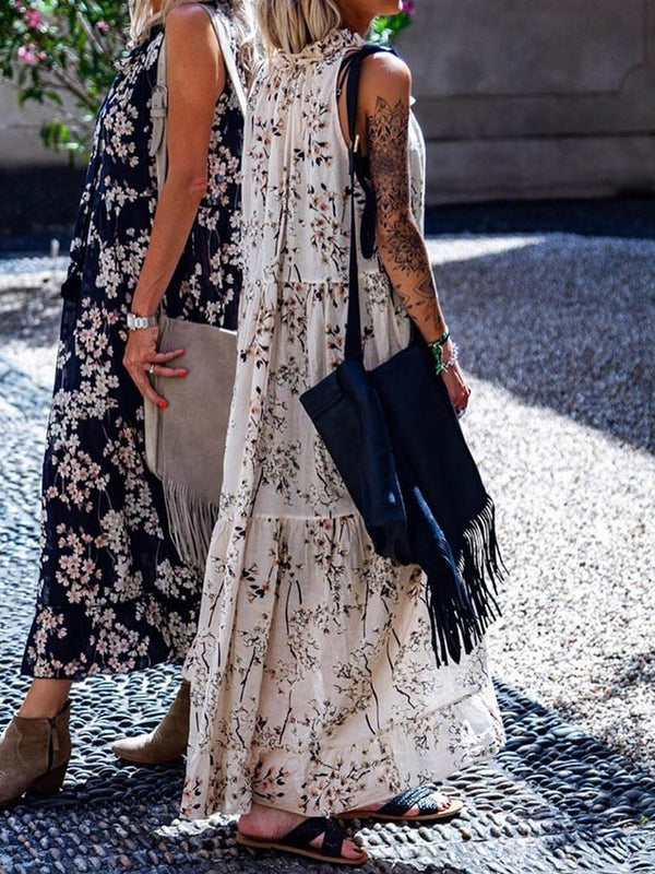 Print Ankle-Length Sleeveless Plant Pullover Dress