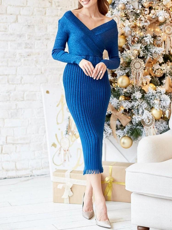 Mid-Calf V-Neck Long Sleeve Dress Regular Dress