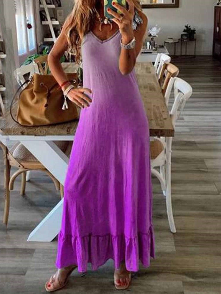 Sleeveless V-Neck Floor-Length Spaghetti Strap Pullover Dress