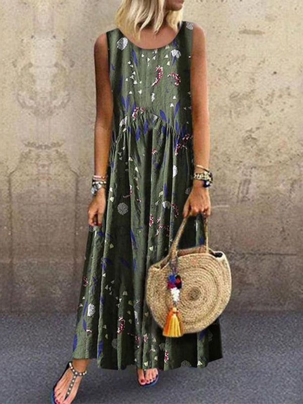 Ankle-Length Sleeveless Print Casual Summer Dress