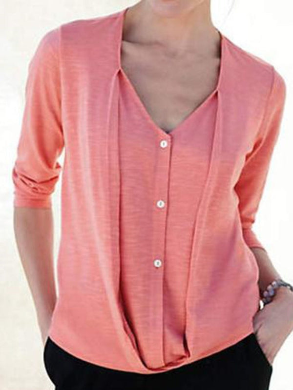 Three-Quarter Sleeve V-Neck Plain Casual Slim T-Shirt
