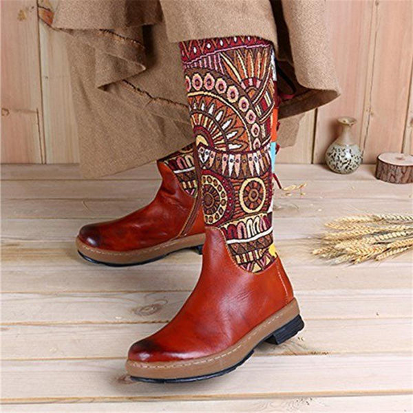 Side Zipper Patchwork Round Toe Thread Western Boots