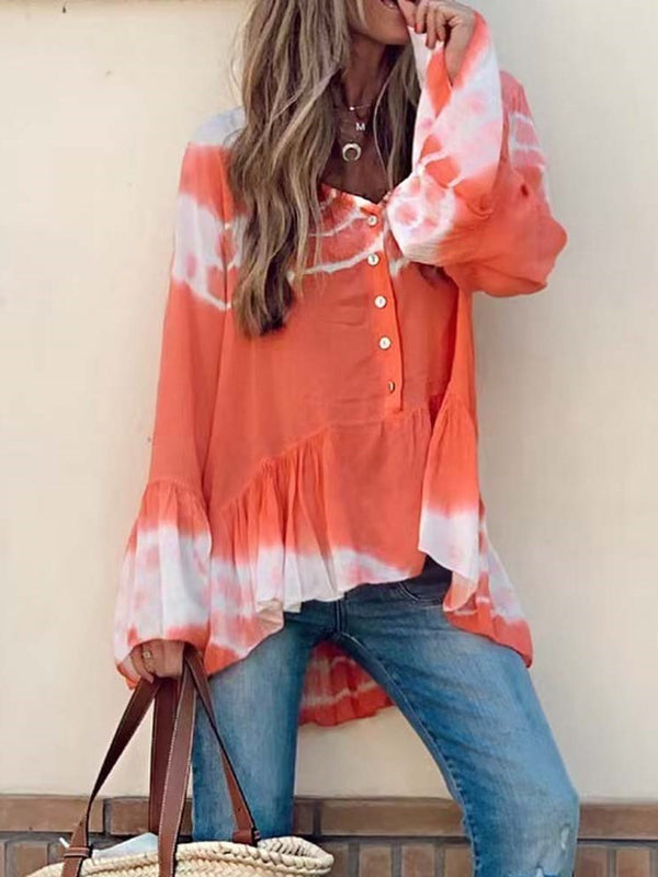 Button V-Neck Color Block Standard Long Sleeve Blouse