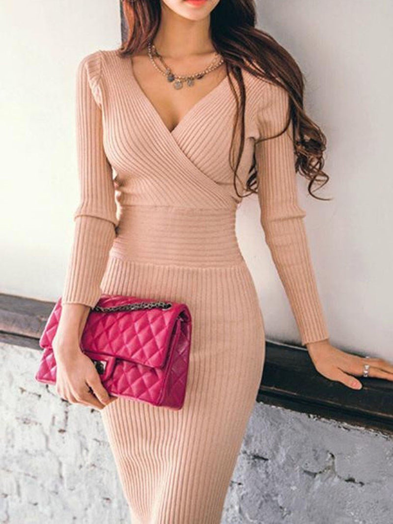 Backless Knee-Length V-Neck Regular Pullover Dress