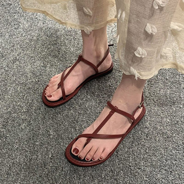Block Heel Strappy Toe Ring T-Shaped Buckle Low-Cut Upper Casual Sandals