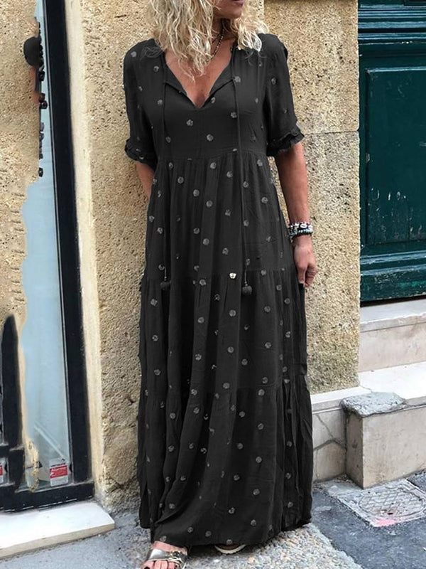 Lace-Up Floor-Length Half Sleeve Casual Polka Dots Dress