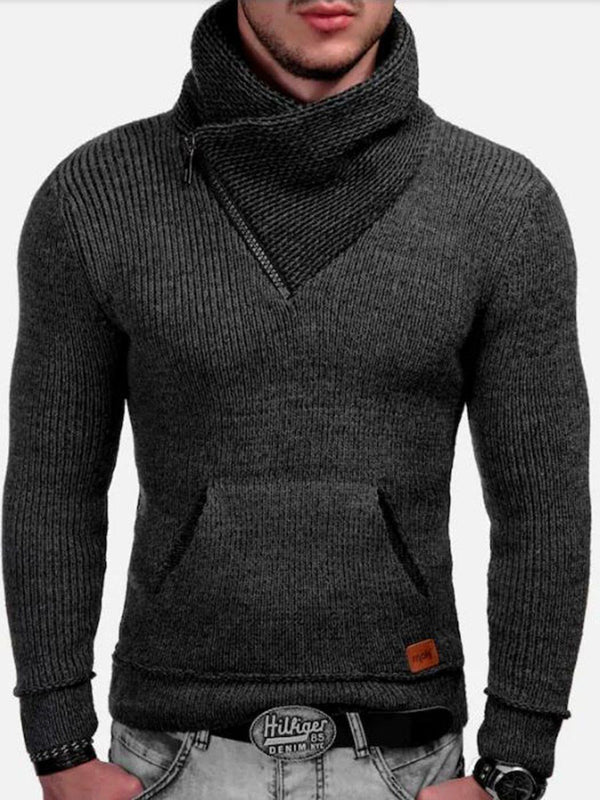 Pocket Color Block Standard Fall Slim Sweater