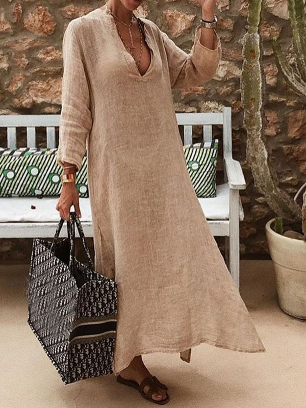 Ankle-Length V-Neck Three-Quarter Sleeve Western Plain Dress