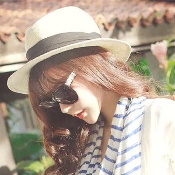 Straw Plaited Article Straw Hat Sweet Color Block Hats