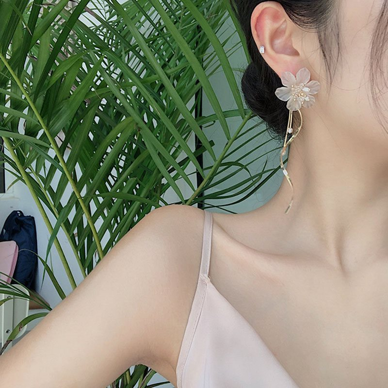 Korean Tassel Floral Anniversary Earrings