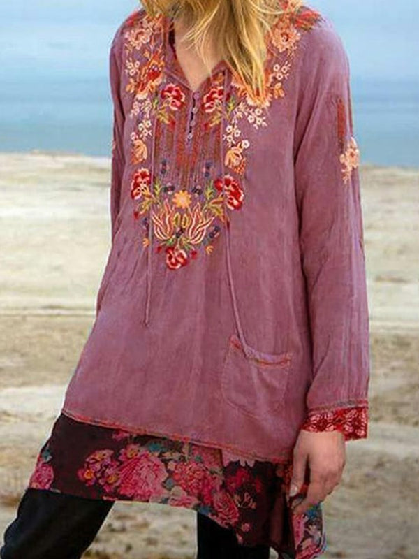 Floral V-Neck Patchwork Mid-Length Long Sleeve Blouse