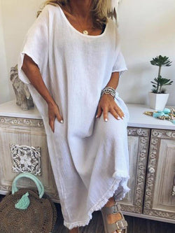 Split Ankle-Length Short Sleeve Casual A-Line Dress