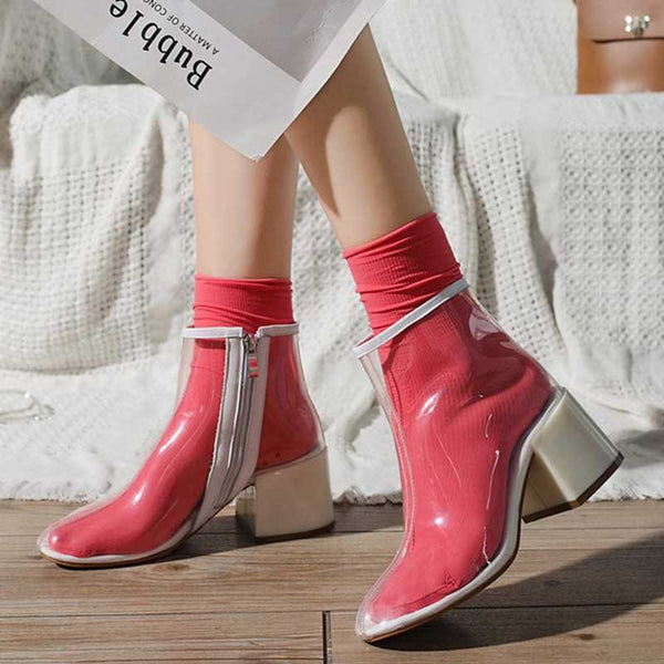 Side Zipper Chunky Heel Round Toe Platform Western Boots