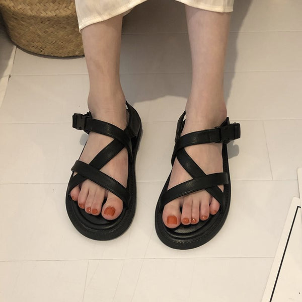 Flat With Open Toe Buckle Strappy Plain Casual Sandals