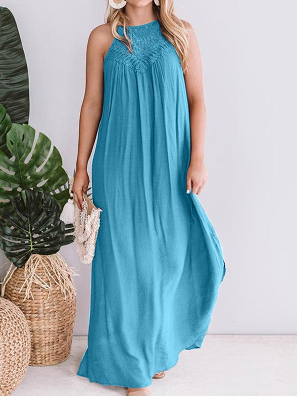 Round Neck Floor-Length Hollow Pullover Plain Dress