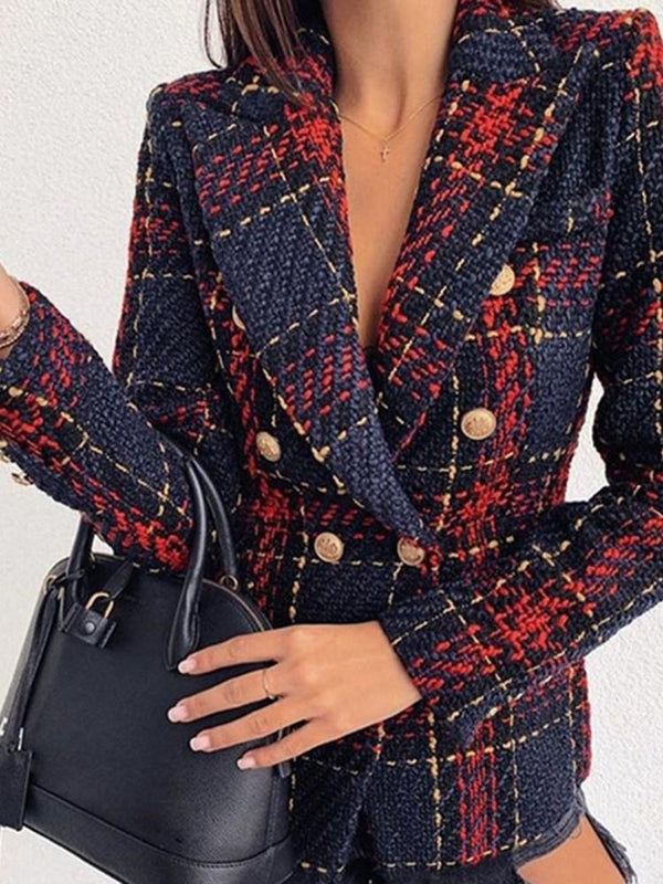 Plaid Double-Breasted Long Sleeve Mid-Length Regular Casual Blazer