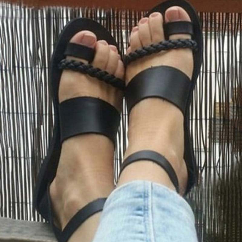 Toe Ring Ankle Strap Block Heel Line-Style Buckle Low-Cut Upper Woven Sandals