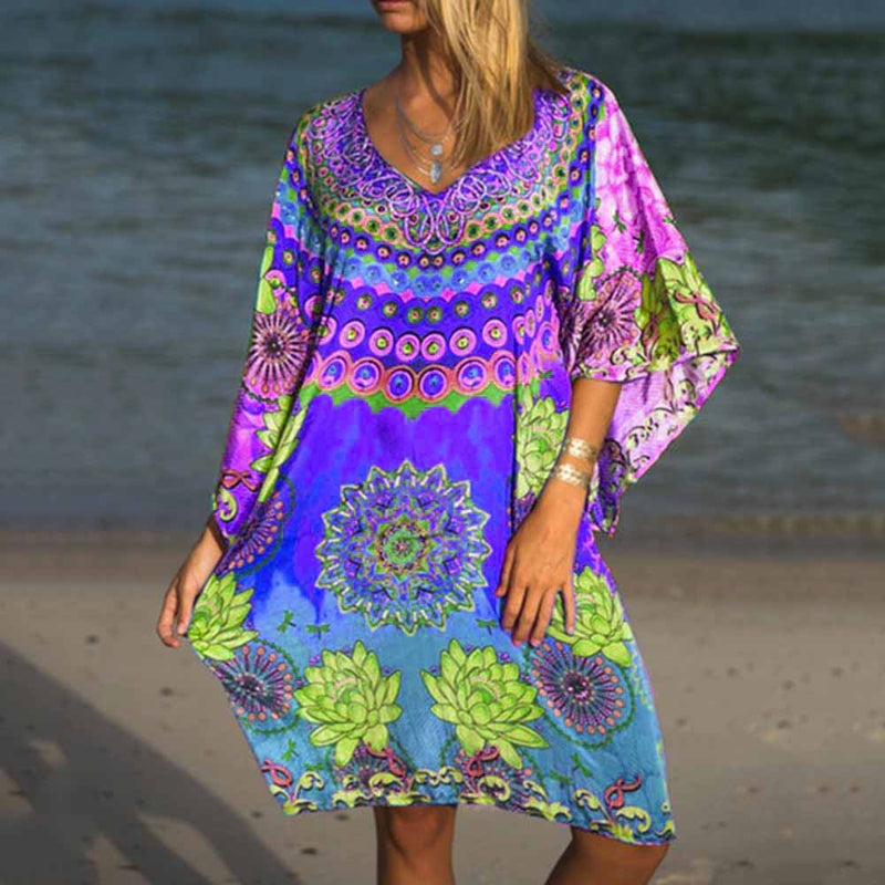 Knee-Length Three-Quarter Sleeve Print Summer Fashion Dress