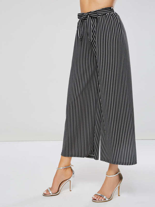 Stripe Lace-Up Women's Casual Pants
