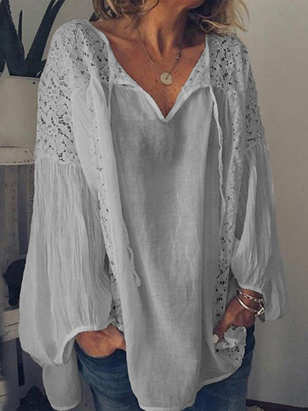 Plain V-Neck Pleated Long Sleeve Mid-Length Blouse
