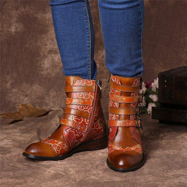 Round Toe Patchwork Side Zipper Casual Casual Boots