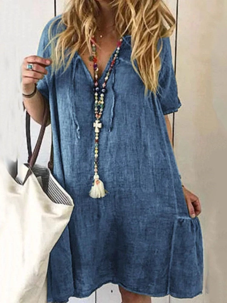 Short Sleeve V-Neck Patchwork Casual A-Line Dress