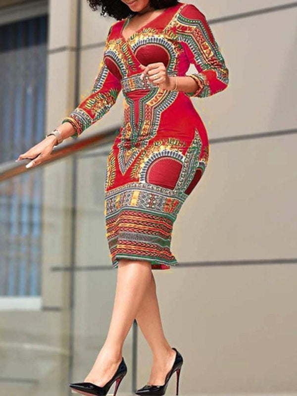 Three-Quarter Sleeve Mid-Calf Print Pullover High Waist Dress