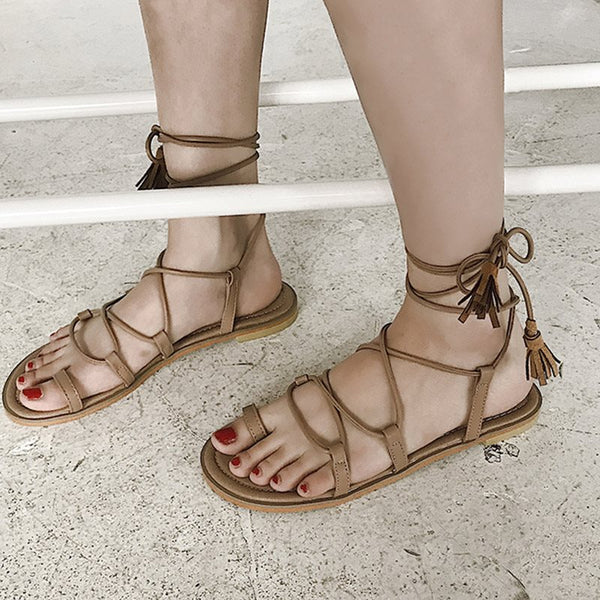 Toe Ring Lace-Up Strappy Block Heel Low-Cut Upper Plain Sandals