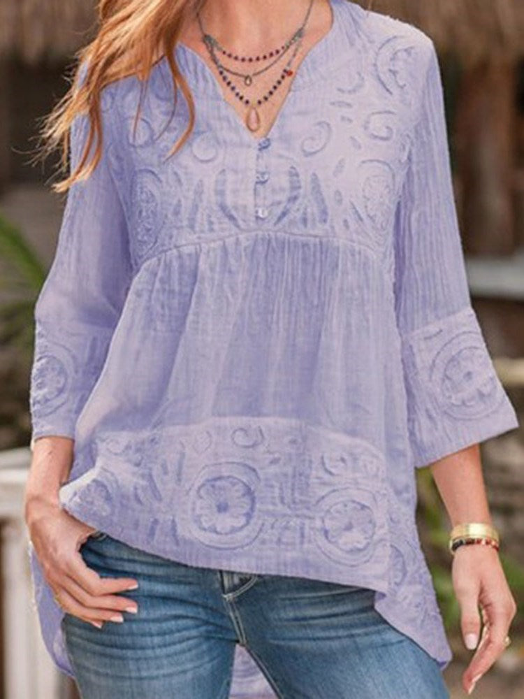 V-Neck Print Three-Quarter Sleeve Mid-Length Blouse