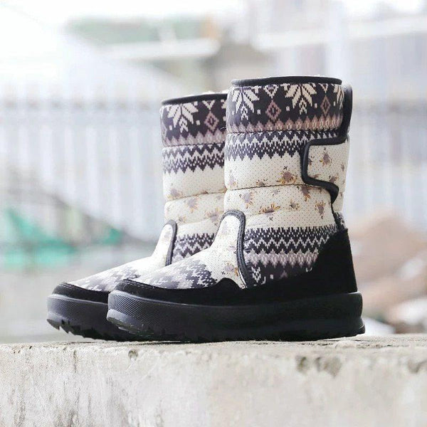 Color Block Velcro Round Toe Casual Thread Boots