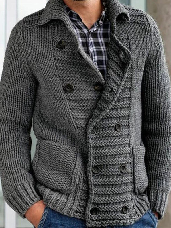 Standard Pocket Plain Loose Double-Breasted Sweater