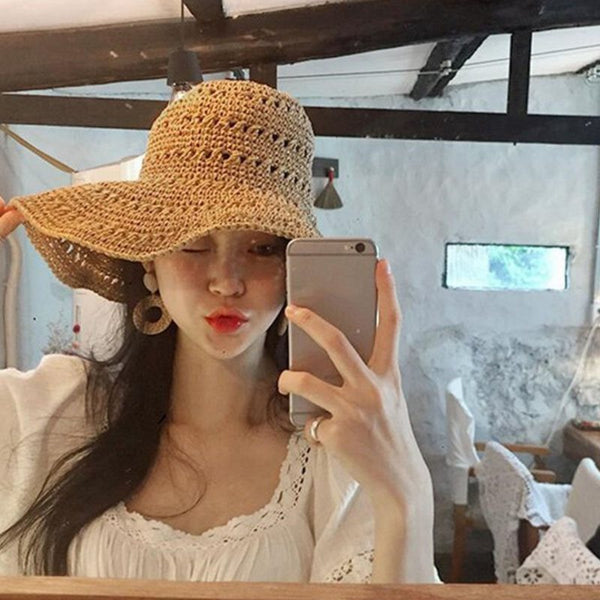 Straw Plaited Article Korean Plain Hats