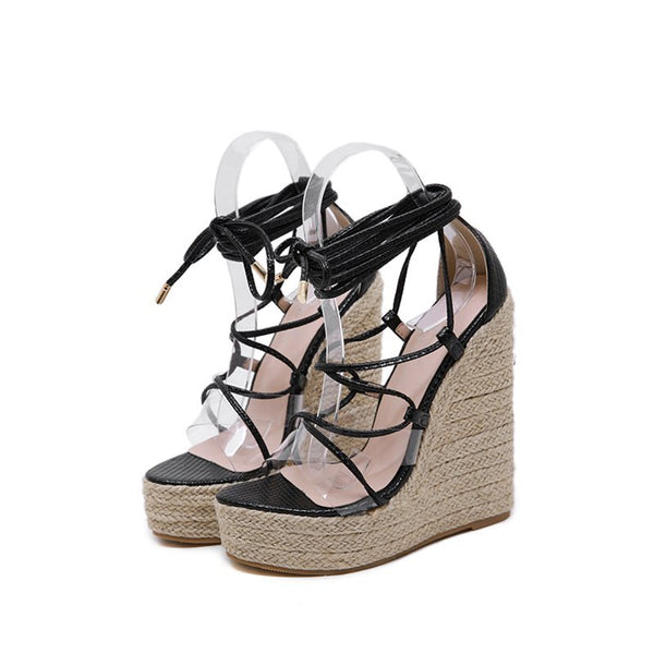 Lace-Up Wedge Heel Heel Covering Open Toe Hollow Casual Sandals