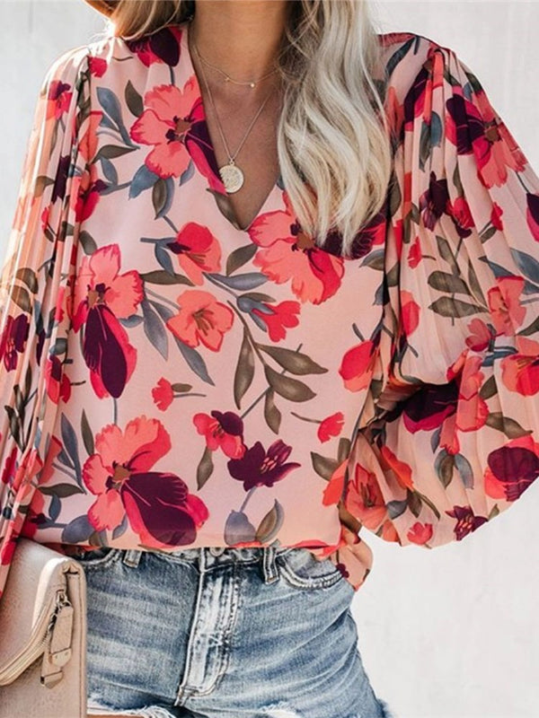 Floral Print V-Neck Long Sleeve Standard Blouse