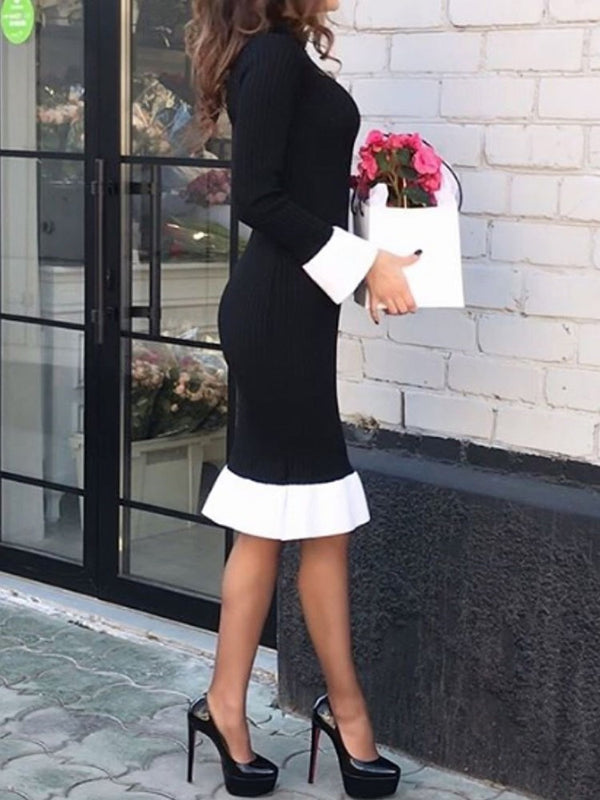Stand Collar Long Sleeve Knee-Length Mermaid Regular Dress