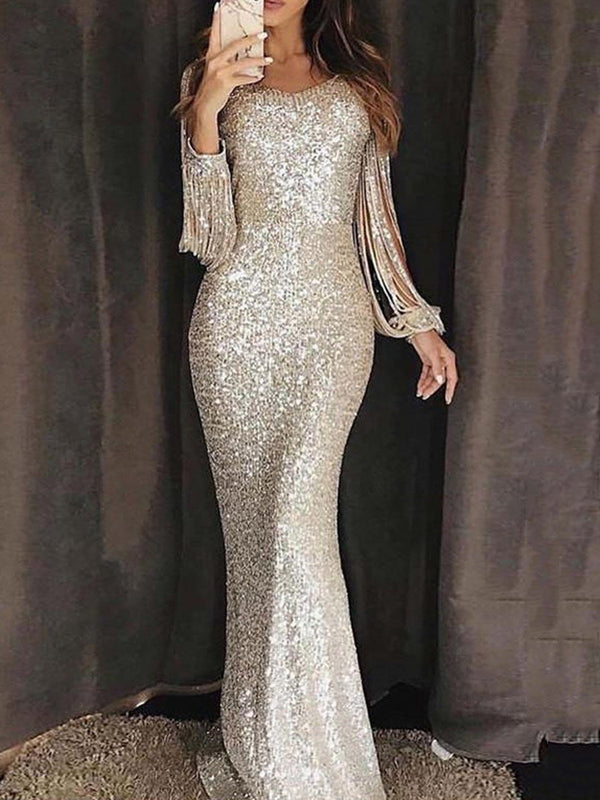 Floor-Length Sequins Long Sleeve Plain Dress Dress