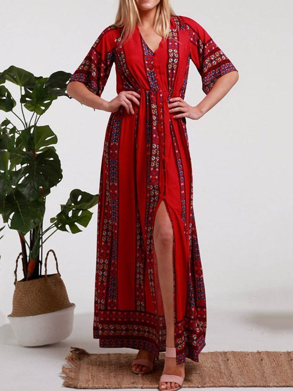 Three-Quarter Sleeve Print Ankle-Length A-Line Geometric Dress