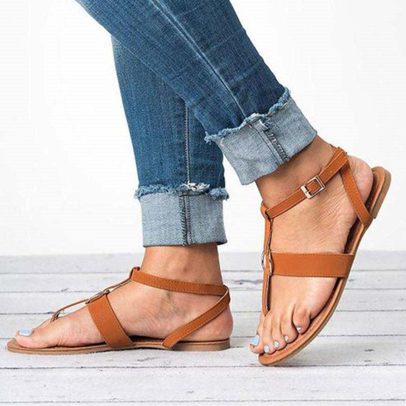 Strappy Buckle Flat With Thong Plain Low-Cut Upper Sandals