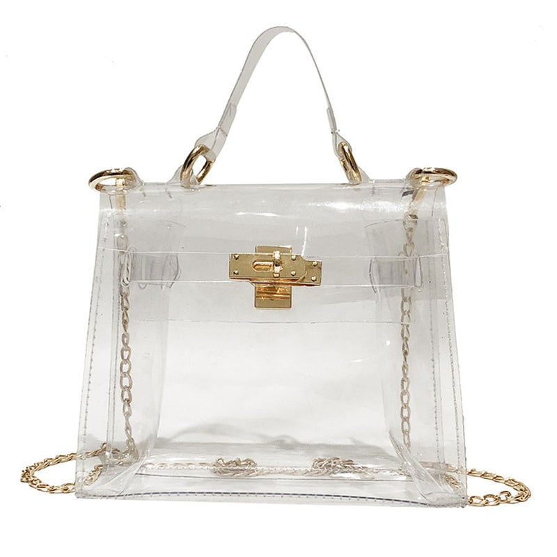 PVC Chain Flap Crossbody Bags
