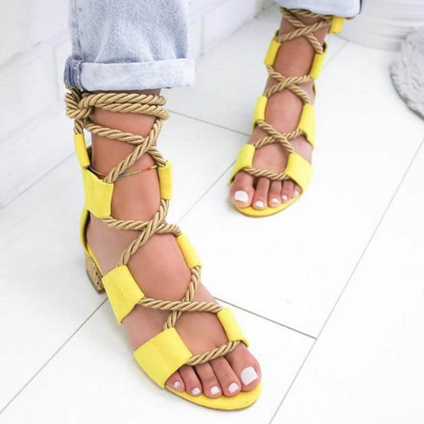 Lace-Up Open Toe Chunky Heel Heel Covering Low-Cut Upper Casual Sandals