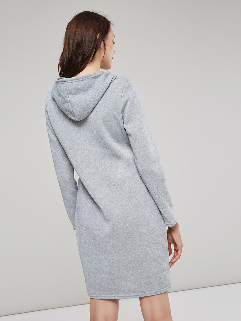 Hooded Pocket Above Knee Fall Plain Dress