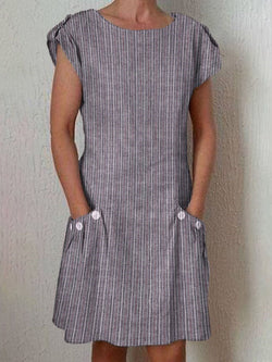 Above Knee Round Neck Short Sleeve Stripe A-Line Dress