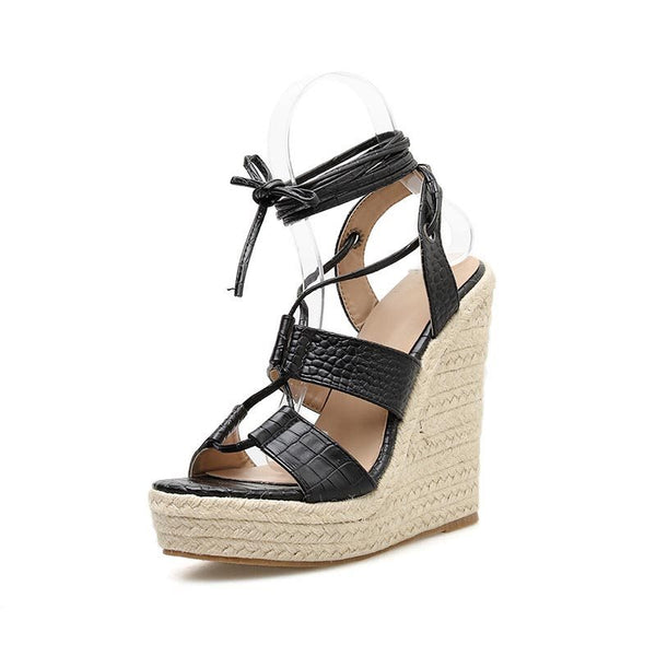 Wedge Heel Open Toe Lace-Up Plain Casual Sandals
