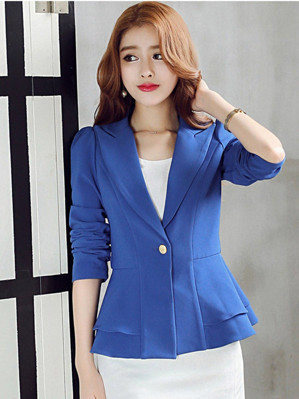 Long Sleeve One Button Notched Lapel Fall Standard Casual Blazer