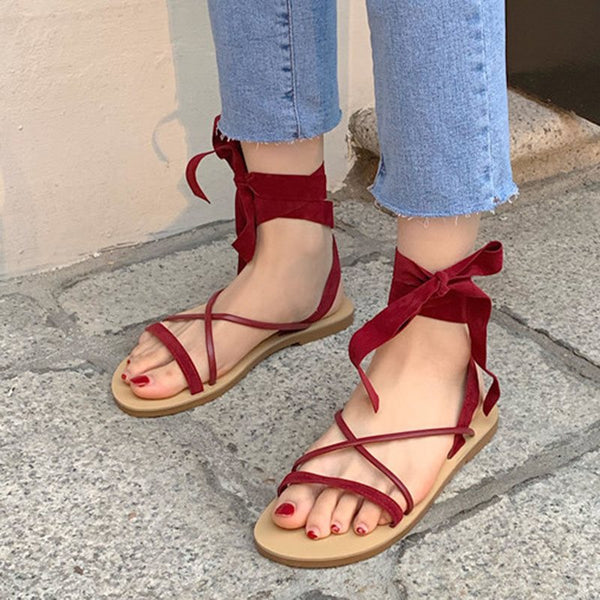 Ankle Strap Lace-Up Block Heel Open Toe Plain Casual Sandals
