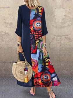 Round Neck Ankle-Length Print Pullover Color Block Dress
