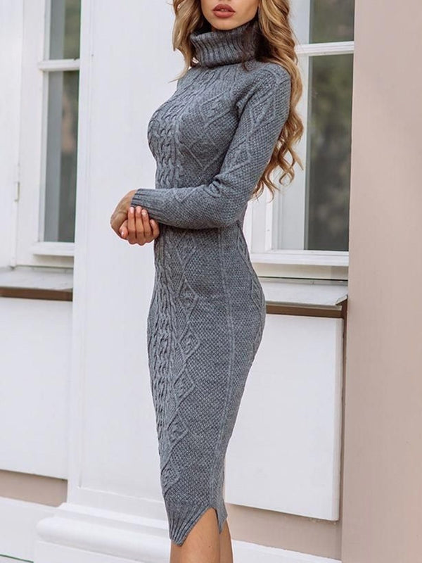 Long Sleeve Mid-Calf Turtleneck Pullover Bodycon Dress