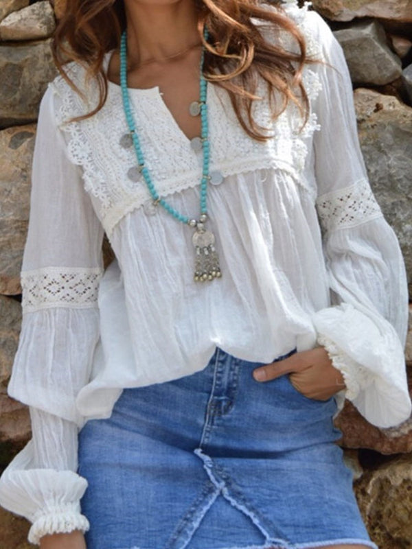 Plain V-Neck Lace Mid-Length Long Sleeve Blouse